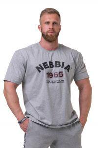 NEBBIA Golden Era Tričko 192 Light grey Barva: Světle šedá, Velikost: M
